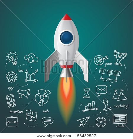 Space rocket launch. Business project start up concept. Soaring spaceship with the set of doodle icons of marketing strategy, launching new innovation product, creative start on market.