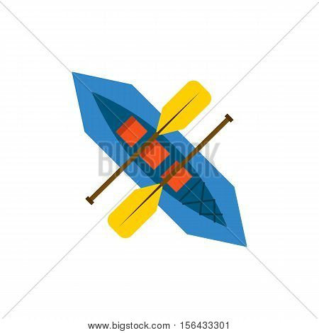 Vector Flat Rafting Boat With Paddles
