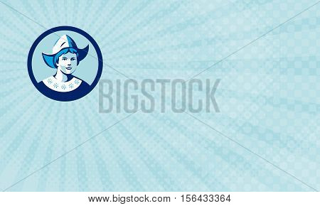 Business card showing Illustration of a Dutch lady wearing traditional dutch cap or dutch bonnet that resemble a nurse's hat facing front set inside circle done in retro style.