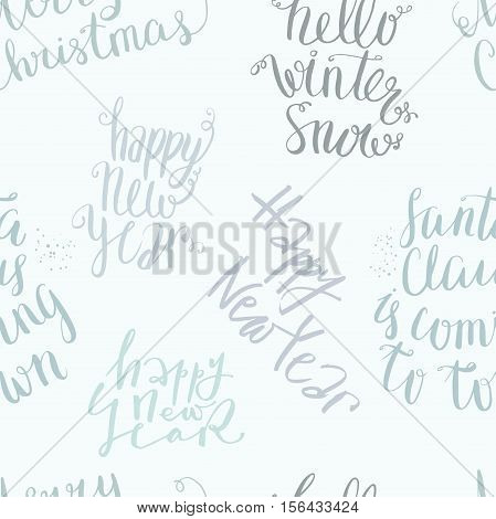 New year and merry christmas vector seamless lettering pattern, handwritten quotes and words background