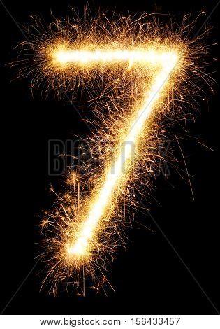 Sparkler Firework Light Number 7 Isolated On Black