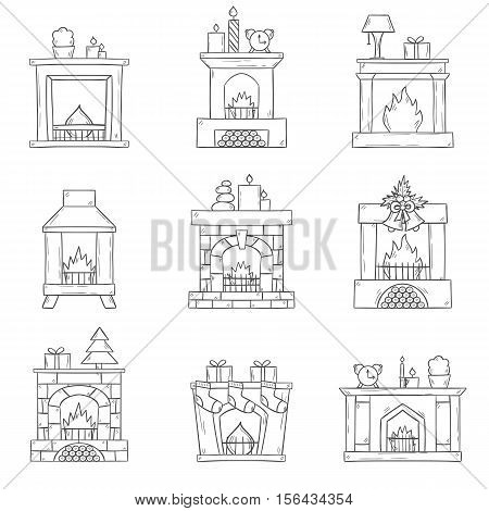 Vector Cartoon Hand Drawn Fireplaces Icon Set