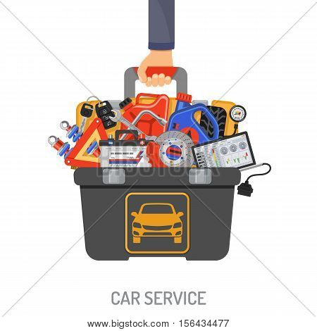 Auto Service Concept with Car tools and toolbox in hand car mechanic flat Icons. Isolated vector illustration.