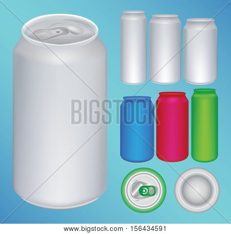 a set of a color ful aluminium can vector
