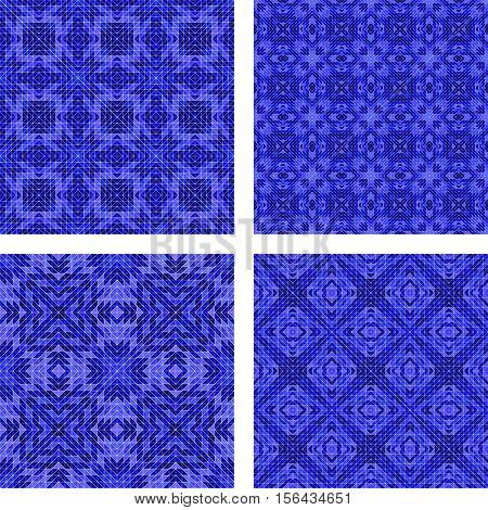Seamless blue triangle mosaic pattern kaleidoscope background set