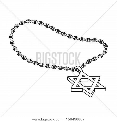 Star of David icon in outline style isolated on white background. Religion symbol vector illustration.