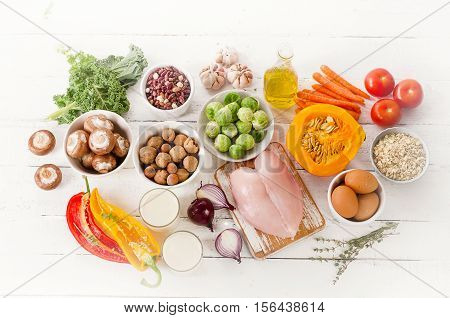 Balanced Diet. Cooking And Food Concept.