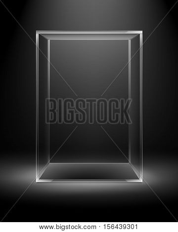 Vector Empty Transparent Glass Box Rectangle Cube Isolated on Dark Black Background with Backlight