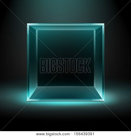 Vector Empty Transparent Glass Box Cube on Dark Black Background with Blue Turquoise Backlight
