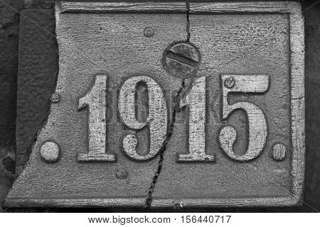Old Steel Nameplate With 1915 Number