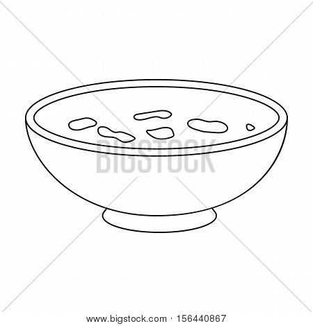 Miso soup icon in outline style isolated on white background. Sushi symbol vector illustration.