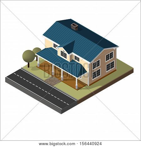 American Cottage, Small Wooden House For Real Estate Brochures Or Web Icon. With Yard, Green Grass, Road, Mailbox, Fence, Ground. Isometric Vector EPS10