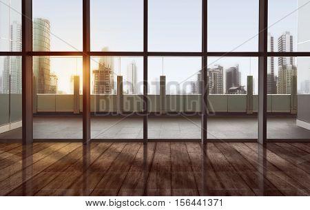 Quiet Terrace With Cityscape And Skyscraper