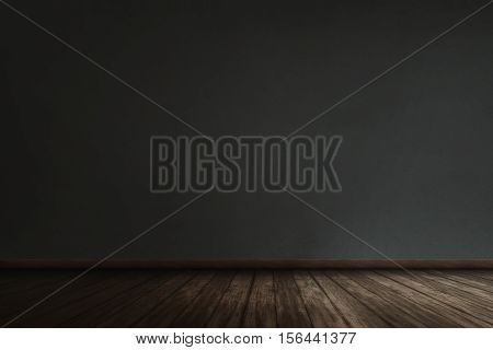 Black Wall With Grunge Wooden Plank Floor