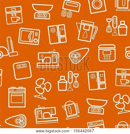 Appliances, background, seamless, orange. Vector white outline icons appliances for home and kitchen on an orange background.