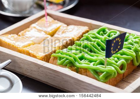 Bread Custard On Wooden Plate