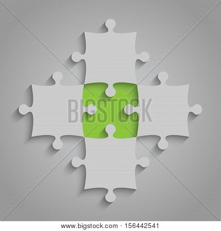 4 Grey and 1 Green Puzzles Pieces Arranged in a Square - JigSaw - Vector Illustration. Blank Template or Cutting Guidelines. Vector Background.