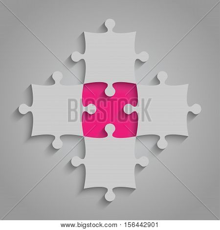 4 Grey and 1 Pink Puzzles Pieces Arranged in a Square - JigSaw - Vector Illustration. Blank Template or Cutting Guidelines. Vector Background.