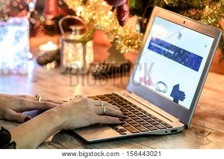 Woman doing Christmas e-shopping via laptop on the background of Christmas decorations