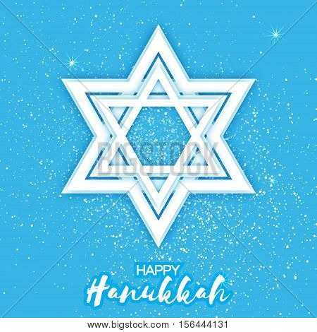 Origami Star of David. Happy Hanukkah. Shining papercraft stars. Greeting card for the Jewish holiday on blue background. Vector illustration.