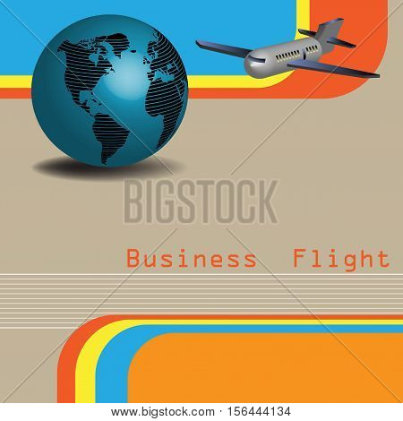 Abstract colorful background with blue globe, plane and the text business flight written in red