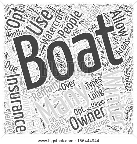 Winter boat insurance word cloud background concept