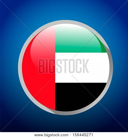 UAE flag on blue background. Round button. Al Eid Al Watani. UAE national day. Vector illustration