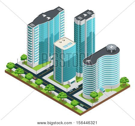 Isometric cityscape composition with modern skyscrapers and green yards on white background vector illustration