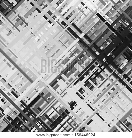 Glitch background, distortion effect, abstract texture, random black and white, grey diagonal lines for design concepts, posters, presentations and prints. Vector illustration.