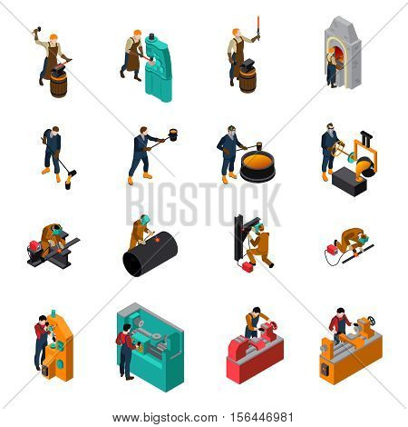 Metalworking process equipment tools and machinery isometric icons collection with blacksmith forging wrought iron isolated vector illustration