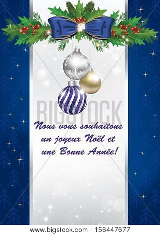 Greeting card for winter holidays in French language (Nous vous souhaitons Joyeux Noël et une Bonne Année) - We wish you a Merry Christmas and a Happy New Year! Print colors used.