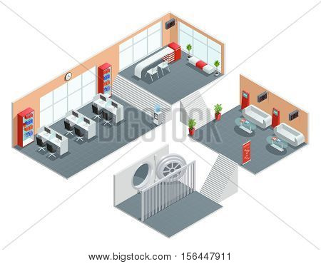 Color isometric design of bank room safe foyer manager vector illustration