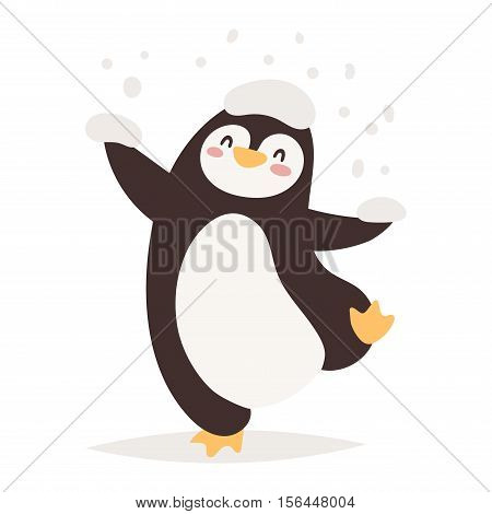 Penguin vector illustration character. Cartoon funny penguin cute character isolated. Penguin vector cute bird posing. Holiday penguin dancing