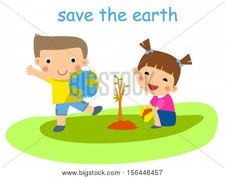 Children planting tree