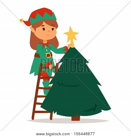 Santa Claus kids cartoon elf helpers vector illustration. Santa Claus elf helpers children. Santa helpers traditional costume isolated on background. Santa elf helpers christmas kids