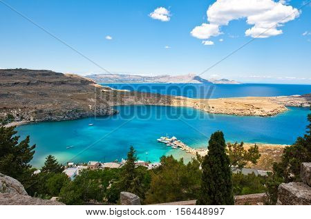 Greece Dodecanese Rhodes view on the sea from the Acropoli of the Lindos village