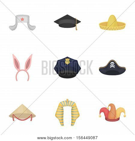 Hats set icons in cartoon style. Big collection of hats vector symbol stock