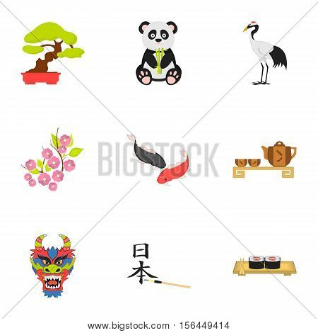 Japan set icons in cartoon style. Big collection of Japan vector symbol stock