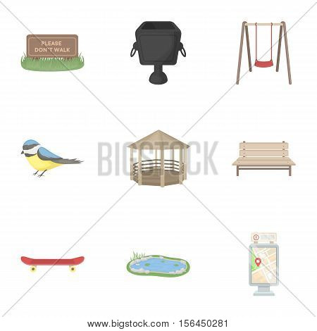Park set icons in cartoon style. Big collection of park vector symbol stock