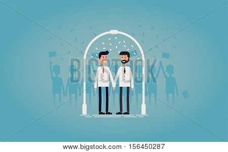 Gay wedding ceremony / marriage concept vector illustration. Gay couple in white suits holding hands with wedding arch and white petals. Great for invitation of poster design. Save the date.