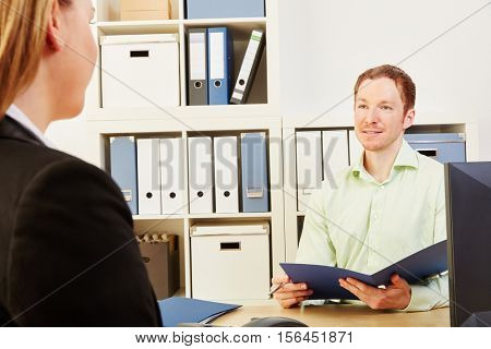 Woman in a job interview and application process in a company
