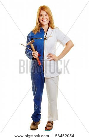 Woman during her aprenticeship career choice between doctor and worker