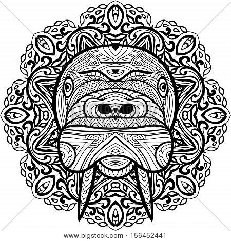 Monochrome hand-drawn ink drawing. Painted walrus on a background of circular tribal pattern. Coloring page book for adults. Line art design.
