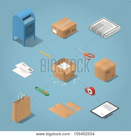 Isometric vector postal delivery objects set. Illustration of mailbox cardboard box newspaper letters open box with filler shopping bag envelopes paper on tablet knife adhesive tape scissors