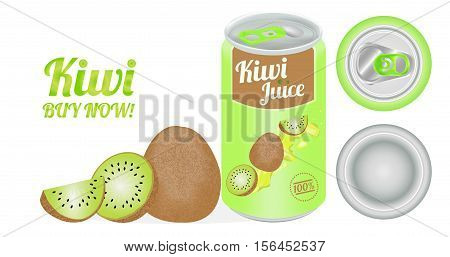 a real 3d Kiwi Juice can vector