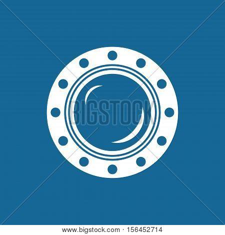 Porthole, Shipboard Window, Round Ship Porthole Isolated on Blue, Vector Illustration