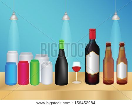 a group of a liquor bottle and can