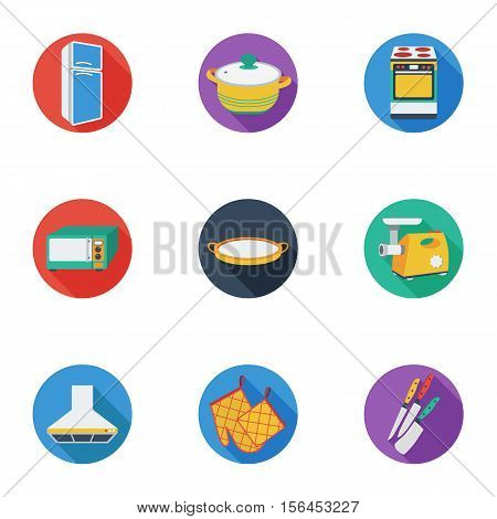 Kitchen set icons in cartoon style. Big collection of kitchen vector symbol stock
