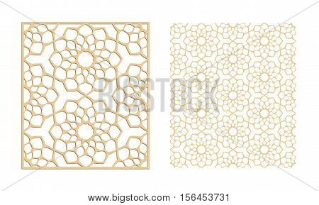 Laser cutting set. Woodcut vector panel. Plywood lasercut eastern design. Hexagonal seamless pattern. Stencil ornament.