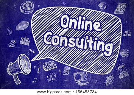 Shrieking Loudspeaker with Inscription Online Consulting on Speech Bubble. Hand Drawn Illustration. Business Concept.